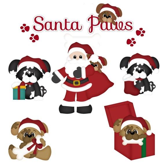 DIGITAL SCRAPBOOKING CLIPART Santa Paws