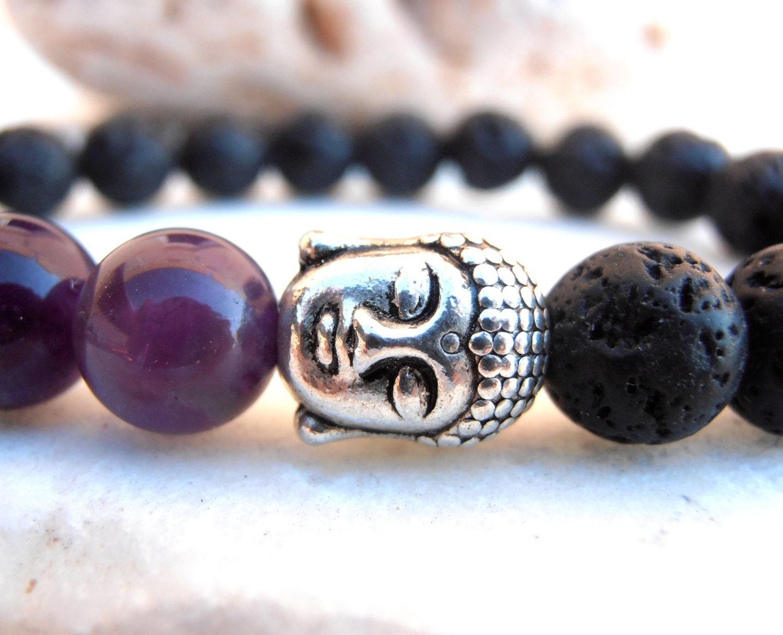 Men amethyst buddha bracelet buddha bracelet by greenjadegoddess
