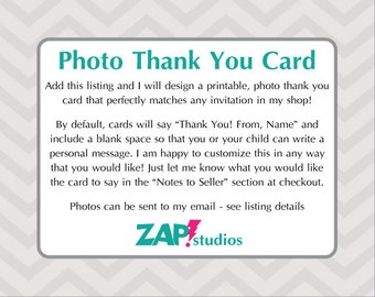 Custom Printable Photo Thank You Card 4x6