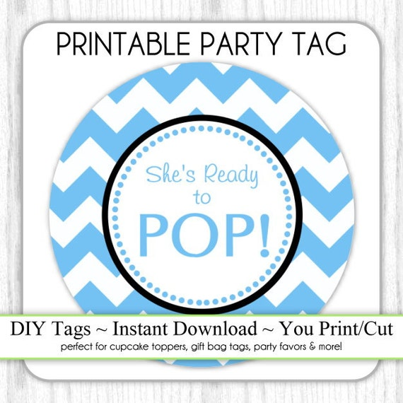 Instant Download Blue Chevron She S Ready To Pop Baby