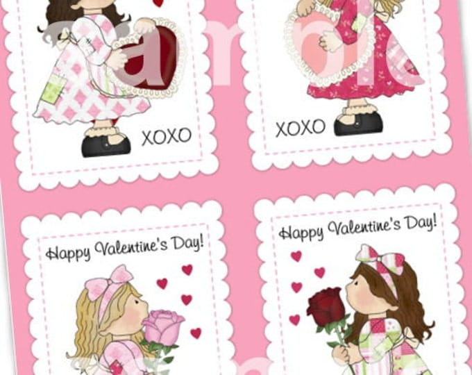 INSTANT DOWNLOAD - Printable Valentines - Eight Mini Cards (4 with writing, 4 blank) - 2.5 x 3.5 - in PDF format - sweet girls, dolls