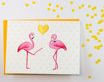 I love you card with pink flamingos
