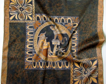 Batik shawl 'Oedipus and the Sphinx.''' hand-painted on silk.  Luxury gift for her. Made to Order.