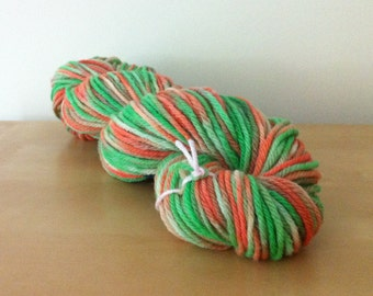 Green and Orange -  Bulky Chunky Wool - Green Orange