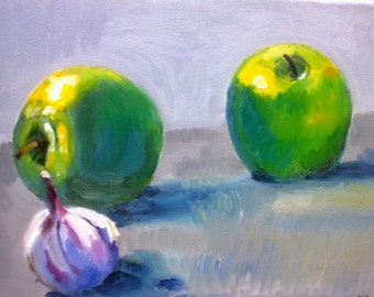 Still life green apples and garlic (original oil painting)