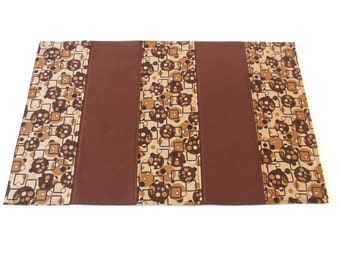 Brown Table Runner Geometric Retro Quilted Fabric Small