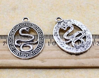 10pcs antique silver snake  Charm Pendants 25mm