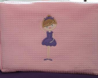 Girl's Pink Ballerina Applique Cosmetic Bag