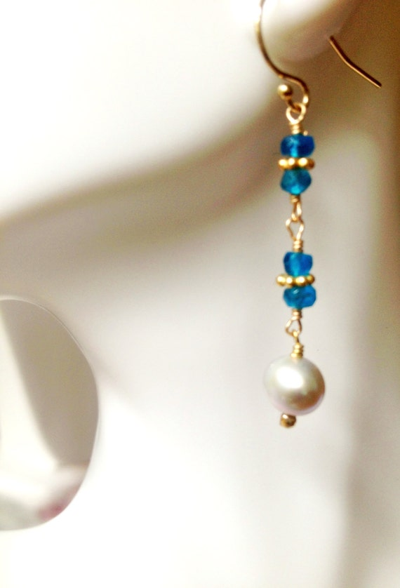 Apatite and Pearl Earrings  Gold Filled Ear Wire June Birthstone Bride Bridesmaid Jewelry Minimalist Holiday Jewelry