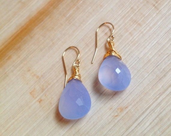 Blue Chalcedony Briolette Earrings/ Gold Wire Wrapped/ Blue Chalcedony Solitaire/ Faceted Cornflower Blue Gemstone