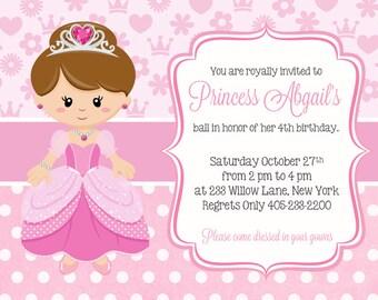 Princess Birthday Invitation, Princess Birthday Invites, Princess Party Invitation, Girl Birthday Party Invitations, Pink Invitation
