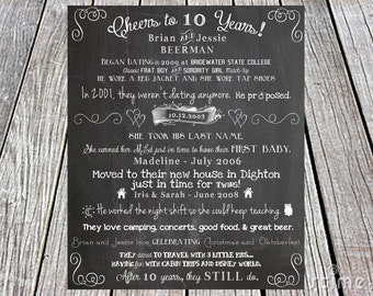 Our Love Story Chalkboard Printable - DIY, invite,  weddings, engagement, party, save the date, anniversary, program, Cheers to 10 Years