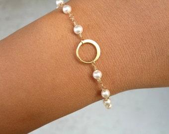 Gold Eternity & Pearl Bracelet, Karma Bracelet, Bridesmaid Gift, Eternity Jewelry, Friendship Bracelet, Mother of the Bride or Groom