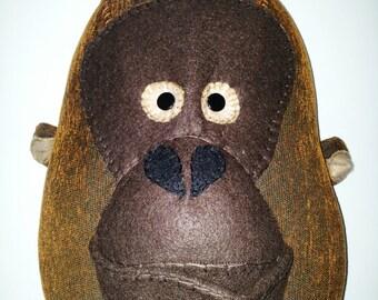 OTTO ORANGUTAN - Faux Taxidermy Fabric Wall Mounted Animal Head
