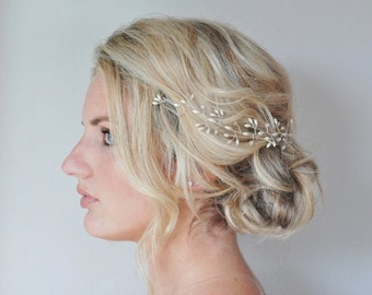 Rice Pearl Crystal Hair Vine, Wedding Hair Accessories,Customised Bridal Hair Vine, Bridal Hair Accessories, Graduation Hair Piece