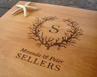 Custom Cutting Board Sea Coral Destination Wedding Present Nautical Decor Christmas Present Personalized Family Name