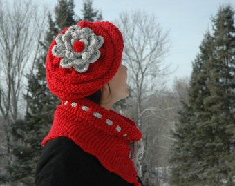 Winter Flower--Hand Knit Lipstick Red Beret Hat and Cowl Scarf. Hand Knit and Originally Designed by Sofie's Softies.
