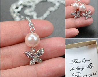 Gift for Junior bridesmaid ,necklace Pearl Bridal Earrings Soft Pink Blush Pearl Earrings Cubic Wedding Jewelry Bridesmaid Gift Jewelry