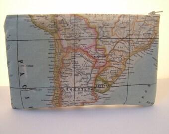 Handmade map fabric pencilcase/toiletries bag