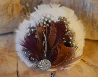 White, Red, Polka Dot, Brown, Feather Hair Clip
