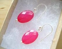 Hot Pink drop earrings, Oval Hot pink earrings