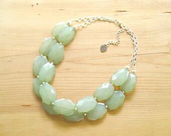Green Jade Statement necklace, Green Statement necklace