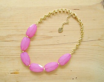 Pink statement necklace, Fuchsia statement necklace