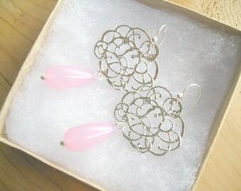 Silver Flower Blush pink drop earrings, Blush pink teardrop flower earrings