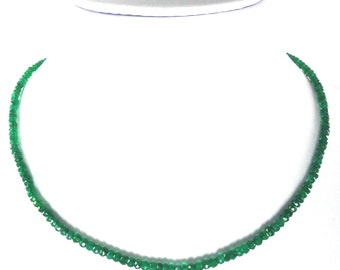 Natural Green Onyx Rondelle Bead 3.5-4mm Single Strand Necklace Ready to Wear Metal Clasp 17 inches (2273)