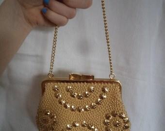 1960s Gold Decorated Evening Bag Purse/Handbag