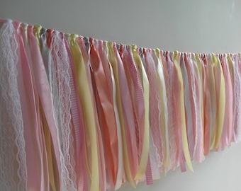 Sorbet Soft Party Banner, Decoration, Wedding Garland, Banner, Decoration, Ribbon, Fabric Garland, Bridal Shower, Baby Shower