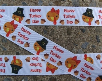 "3y Turkey Ribbon Thanksgiving Ribbon Printed Ribbon 7/8"" Hair Bow Ribbon"
