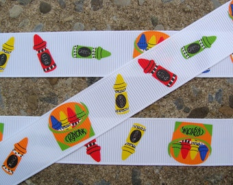 "3 yards Crayon Ribbon 7/8"" School ribbon Printed Ribbon hair bow ribbon"