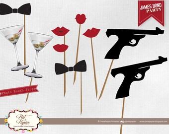 James Bond Photo Booth printables