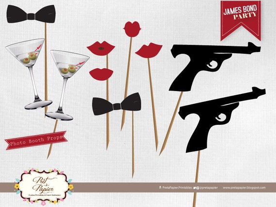 James bond photo booth printables for Decoration 007