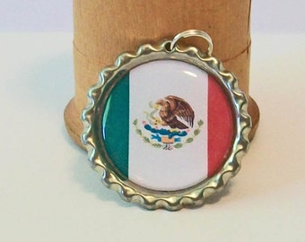 Unique Mexico National Flag Flattened Bottlecap Pendant Necklace 189 Different National Flags Available