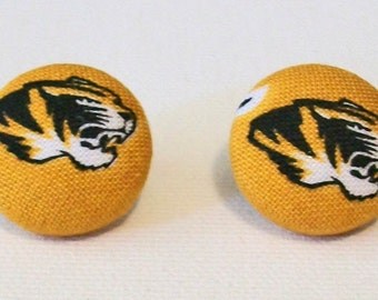 Fun Missouri Tigers Mizzou Inspired Fabric Button Pierced Earrings