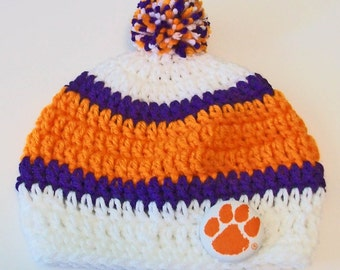 Clemson Tigers Inspired Orange, Purple and White Hand Crocheted Baby and Childrens Pom Pom Hat Great Photo Prop 5 Sizes Available