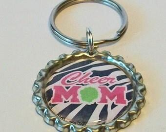 Hot Pink and Zebra Stripe Cheer Mom Metal Flattened Bottlecap Keychain Great Gift