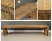 Reclaimed  Wood Bench  Plank Style Legs, Natural,  Reclaimed Wood, Dining Bench, Entry Bench
