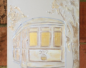 Painted Slate, New Orleans Street Car