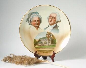 George and Martha Washington plate, porcelain collectible plate, Americana decor