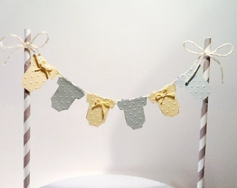 Cake Bunting/Cake Topper. Yellow and Grey Baby One Piece, Gender Neutral. Baby Shower - First Birthday.