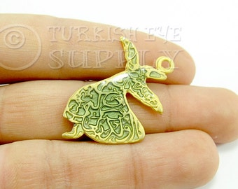 Whirling Dervish Semazen Sufi Enameled Pendant 1 pc Matte 22K Gold Plated Turkish Jewelry Pendants