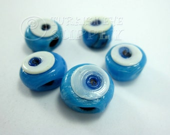 16mm Evil Eye, Handmade Glass Bead,  Artisan Handmade Glass Evil Eye Beads, Protective Good Luck Turkish Glass Beads Beads