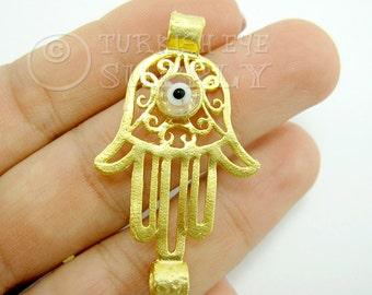 Hamsa, Hand of Fatima Connector with Evil Eye, Gold Hamsa Connector, Bracelet Connector, Hand Connector, Hamsa Findings, 22K Gold Plated