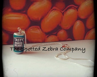 Funky Baked Beans Can Pendant Necklace or Earrings