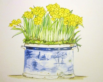 Narcissus blue bowl watercolor and ink original painting