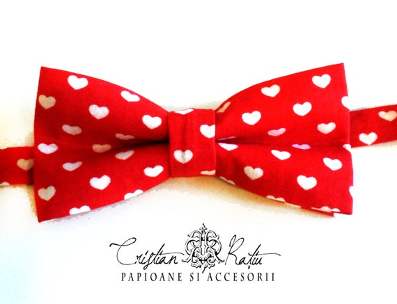 Valentine's day bow tie Heart pattern bow by CristianRatiuBows