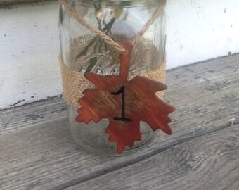 Fall wedding table numbers, autumn wedding decor